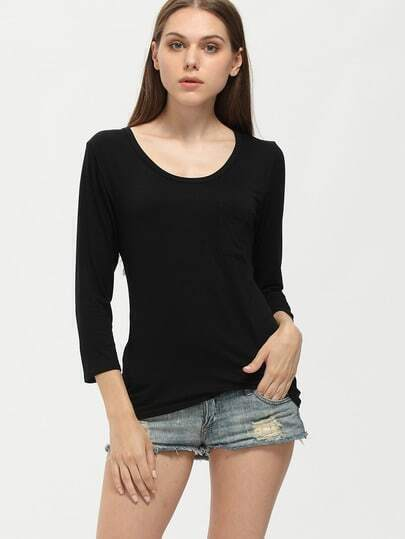 Black Scoop Neck Loose Pocket T-Shirt
