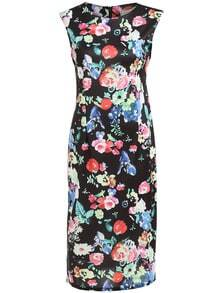 Round Neck Flower Print Frocks Slim Dress
