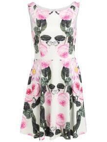 Sleeveless Floral Superb Easter Custom Ruffle Flare Dress