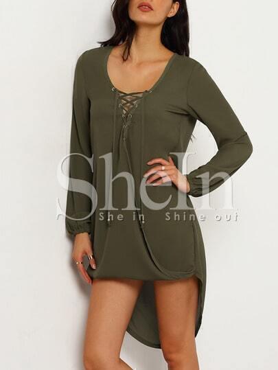 Army Green Long Sleeve Lace Up Asymmetric Dress