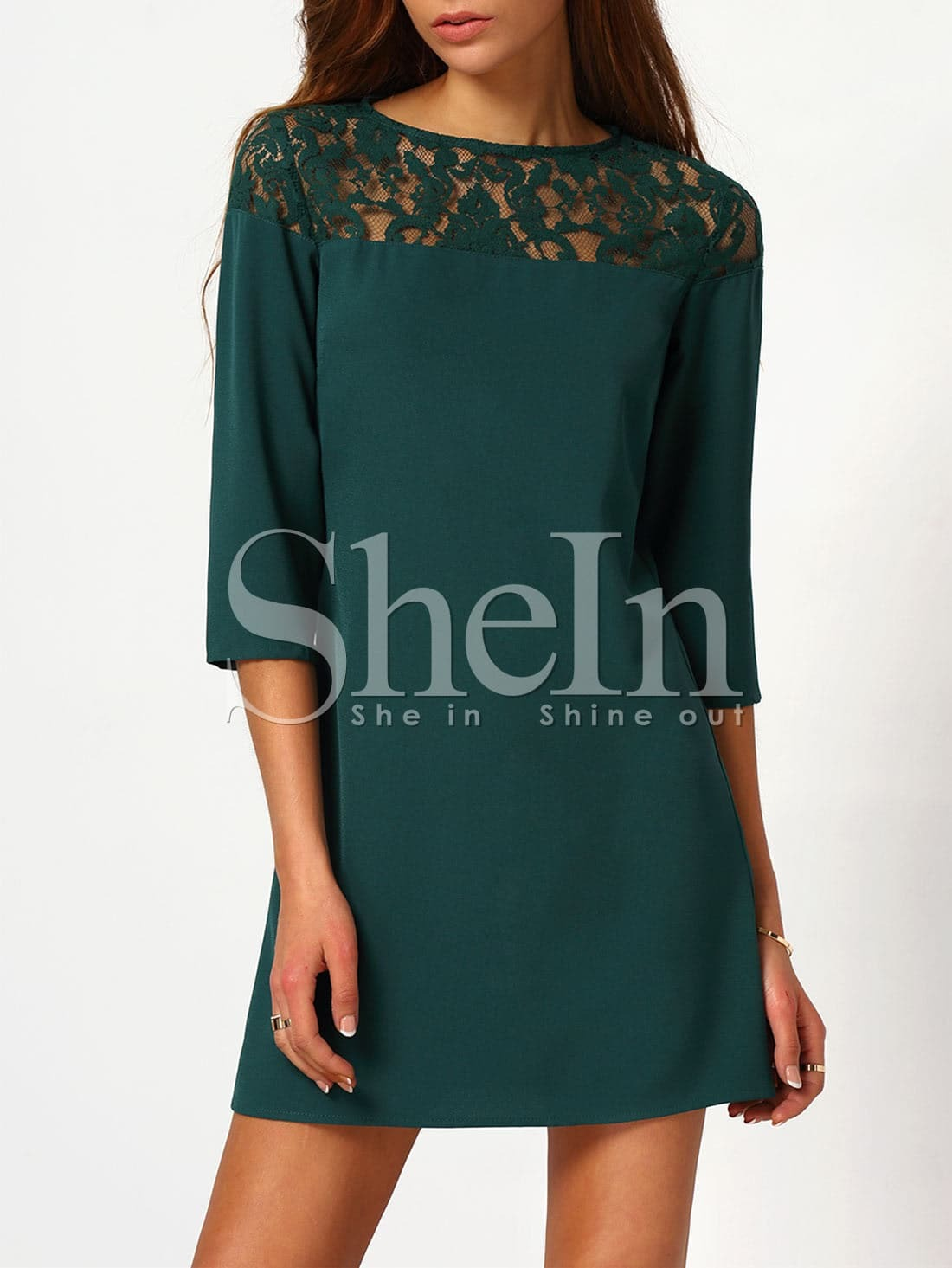 Contrast Lace 3/4 Sleeve Dress dress151028707