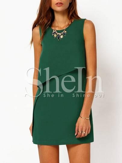Green Sleeveless Ruffle Dress