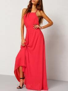 Red Spaghetti Strap Backless Maxi Dress
