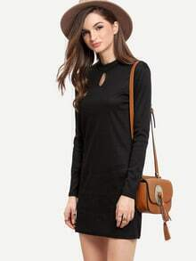 Black Mock Neck Hollow Slim Dress