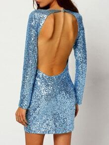 Blue Long Sleeve Backless Sequined Bodycon Dress