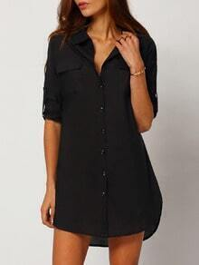Black Long Sleeve Lapel Button Dress
