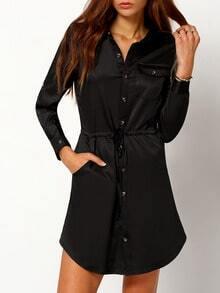 Black Long Sleeve Waistband V Neck With Button Dress