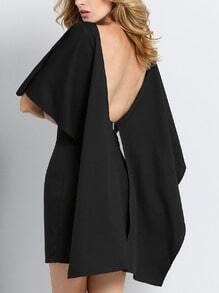Black Flutter Batwing Sleeve Glamorous Backless Dress