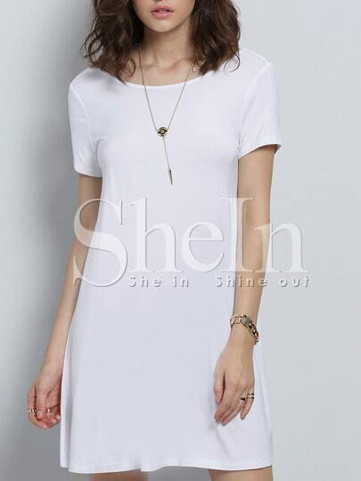White Short Sleeve Backless Dress