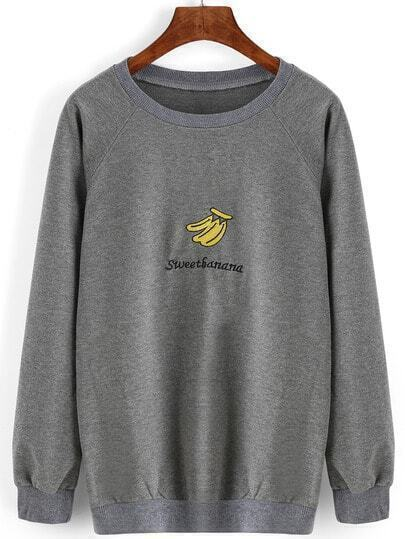 Grey Round Neck Banana Embroidered Loose Sweatshirt