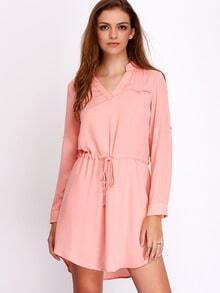 Pink Adjustable Buckle Drawstring Waist Shirt Dress