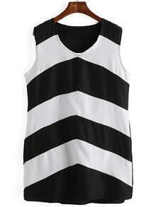Black And White House V Neck Striped Shift Dress