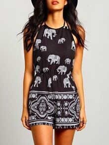 Black Halter Elephant Tribal Print Playsuit