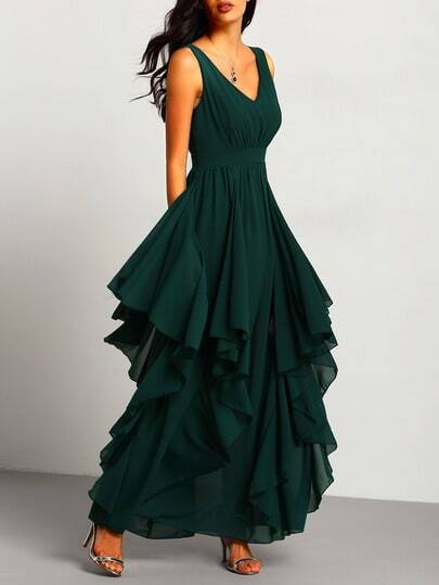 Green Deep V Neck Maxi Chiffon Dress pictures