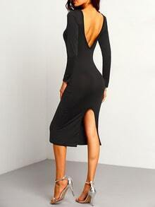 Black Long Sleeve Open Back Slit Slim Dress