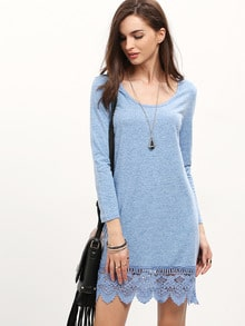 Blue Long Sleeve With Lace Dress