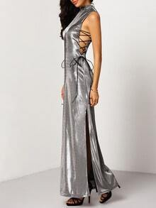Grey Sleeveless Lace Up Split Maxi Dress