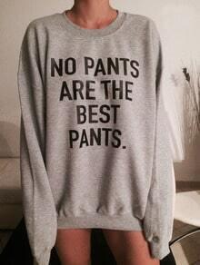 Grey Round Neck Letters Print Loose Sweatshirt