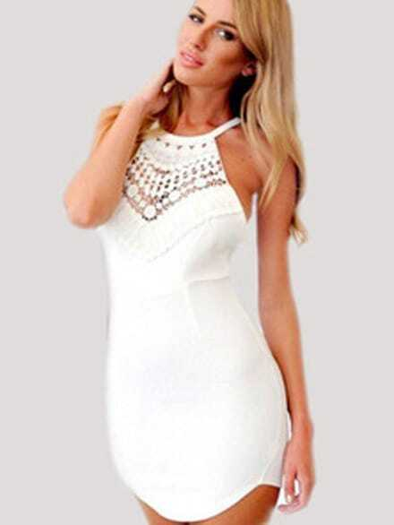 White lace halter cross strap halter dress