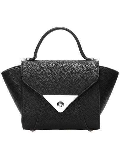 Black Metal Triangle PU Tote Bag