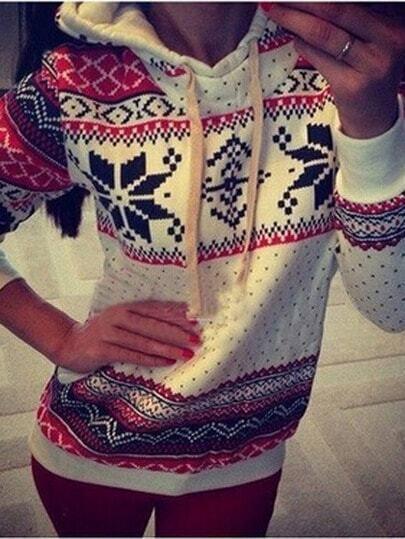 Christmas snowflake printed long sleeve hooded sweatshirt