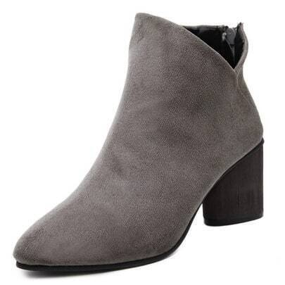 Grey Pointy Cutout Zipper Back Chunky Boots
