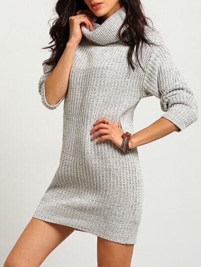 Grey Off the Shoulder Slim Knit Sweater Dress