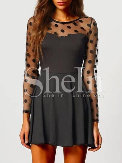 Black Long Sleeve Polka Dot Pleated Dress
