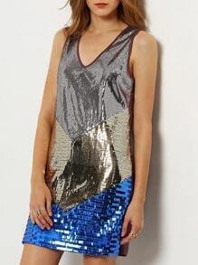Multicolor Sleeveless Color Block Sequined Dress