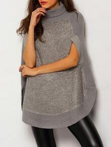 Grey High Neck Loose Cape Sweater