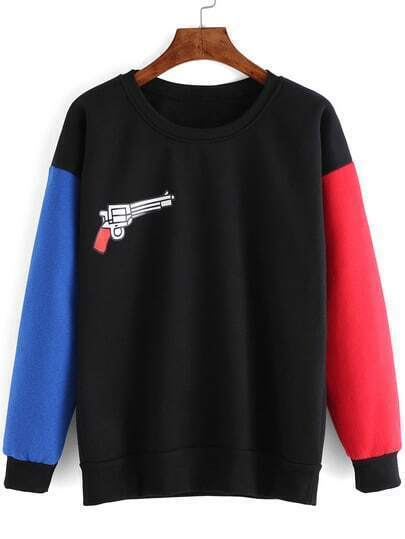 Colour-block Crew Neck Gun Print Sweatshirt