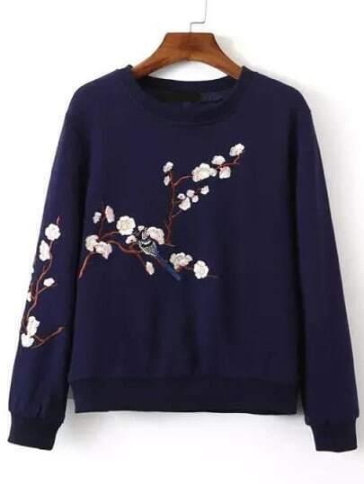 Navy Crew Neck Plum Flower Embroidered Sweatshirt