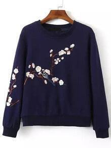 Navy Crew Neck Plum Flower Embroidered Sweatshirt