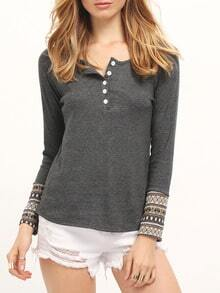 Grey Long Sleeve Buttons T-Shirt