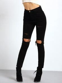 Black Slim Cut Out Pant -SheIn(Sheinside)