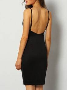 Black Spaghetti Strap Backless Bodycon Dress