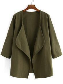 Army Green Lapel Long Sleeve Loose Coat