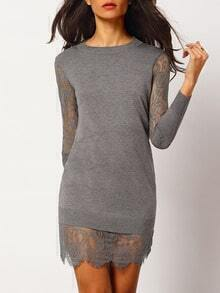 Grey Crew Neck Sheer Lace Bodycon Dress