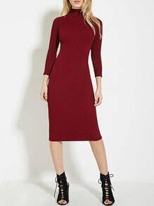Burgundy High Neck Sheath Midi Dress