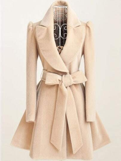 Khaki Shawl Collar Frock Coat With Belt