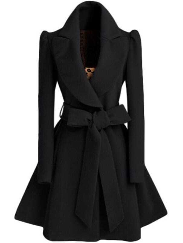 Black Shawl Collar Frock Coat With Belt -SheIn(Sheinside)