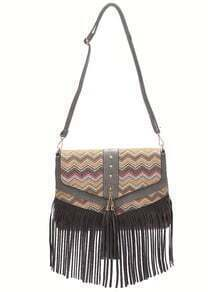 Grey Braided Fringe PU Cross Body Bag