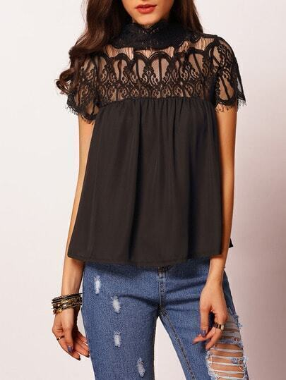 Black Stand Collar Lace Insert Blouse