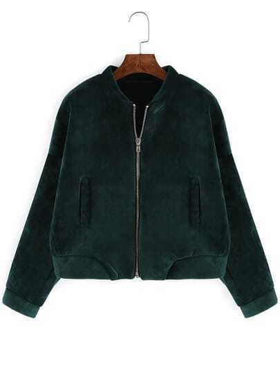 Dark Green Stand Collar Crop Coat