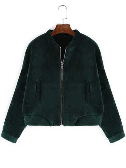 Dark Green Stand Collar Crop Coat