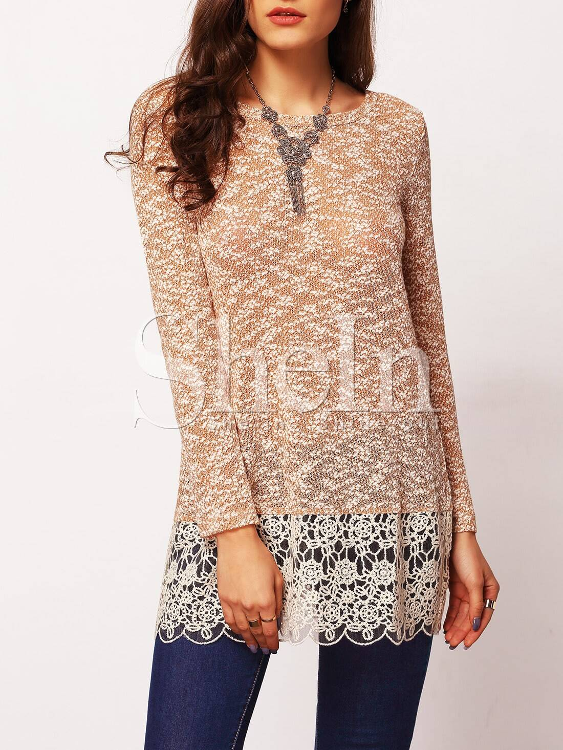 Beige Long Sleeve With Lace Blouse blouse151105701