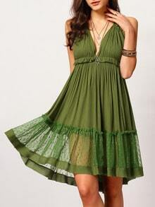Army Green Halter Backless Ruffle Dress