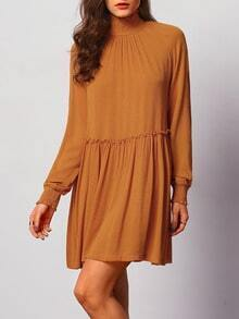Brown Long Sleeve High Neck Casual Dress