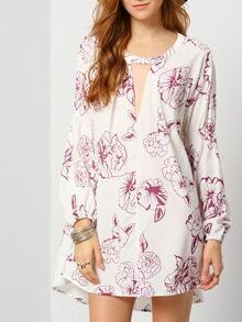 Beige Long Sleeve V Neck Floral Dress