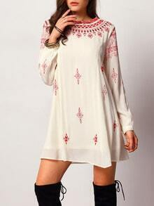 Beige Long Sleeve Vintage Print Dress